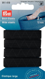 Zwart Standaard Elastiek 12mm x 2m