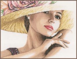 Dame met hoed Eavenwave Borduurpakket Lanarte