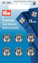 13mm Zilveren Aannaaidrukknopen Prym