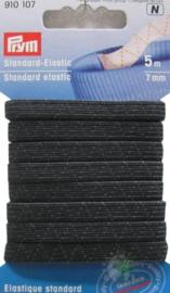 Zwart Standaard Elastiek 7mm x 5m Prym