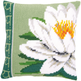 Witte Lotusbloem Kruissteekkussen Vervaco