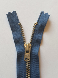 839 Broekrits Blauw Fijn Zilver 20cm YKK