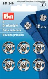 15mm Zilveren Aannaaidrukknopen Prym