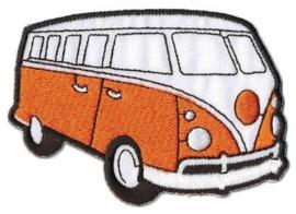 Oranje Volkwagen Bus Opstrijkbare Applicatie