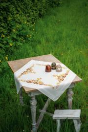 Egeltjes en Herfstbladeren Voorbedrukt tafelkleed - Vervaco