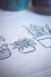 Huiskamerplanten tafelloper borduurpakket - Vervaco