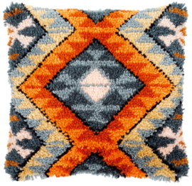 Boho Etninc Print Latch Hook Cushion Vervaco