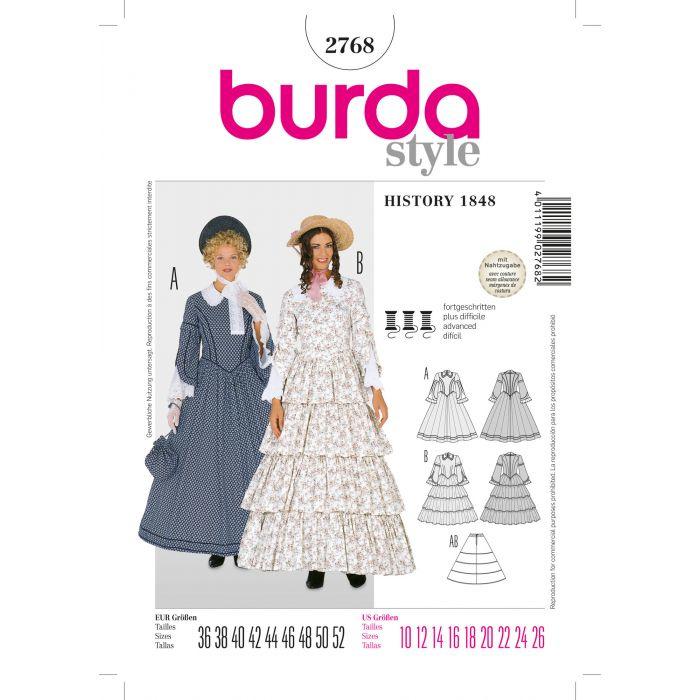 2768 History 1848 Vrouwen Jurk Burda Style Maat 36 - 52