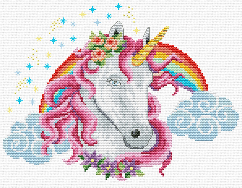 Rainbow Unicorn Voorbedrukt borduurpakket Needleart World