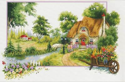 Summer Cottage Voorbedrukt Borduurpakket Needleart World