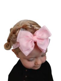 Haarband met grote strik roze