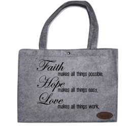 Viltenshopper groot: Faith, Hope, Love