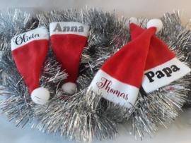 Kerstmutsjes Mini met naam | Wijnfles