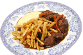 Patat groot bord met suddervleesl varken inc. mayonaise of ketchup