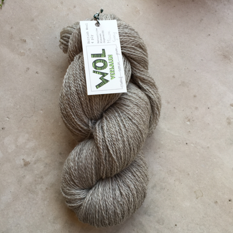 British Wool 4ply  Mouse Grey -ongeverfd-
