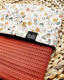 Wiegdeken  bloemen met terra fijne wafel