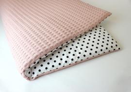 Boxkleed roze nude wafel met poplin grote stip