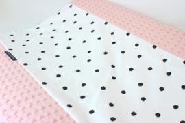 Aankleedkussenhoes wafel grof zacht roze met dots poplin