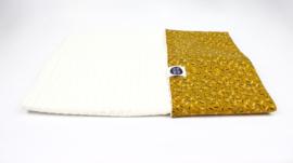 Kinderwagen deken streepjes confetti met gebroken witte  grove  wafel