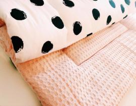 Boxkleed dots XL met grof oude roze wafel