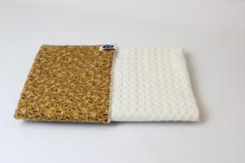 Kinderwagendeken gebroken wit grove wafel met confetti streepjes (sale)