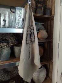Beige-grijze linnen doek L met zeiloog