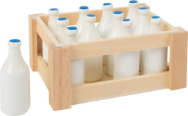 Melkflessen in kratje