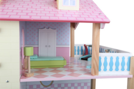 Doll House with Pink roof and 3 Stories, Revolving