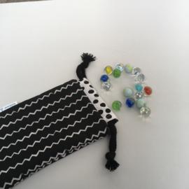 knikkerzak - zwart&wit | zigzag&stip