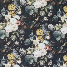 *B: Zwart-pastel bloemen