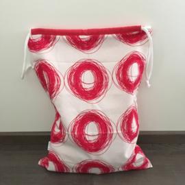 Opbergzak wit&roze|cirkels