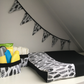 Aankleedkussenhoes wit&zwart|veren