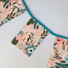 slinger - roze&petrol | bloemen (maat S)