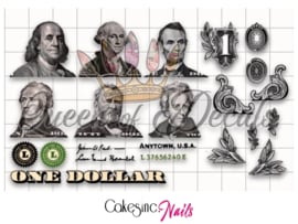 Queen of Decals - US Dollar Bill Elements 'NEW RELEASE'