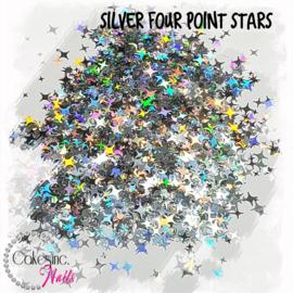 Glitter.Cakey - Silver Four Point Stars