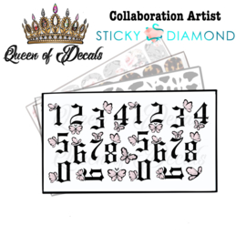 Queen of Decals - Black Ghothic Numbers & Butterflies 'NEW RELEASE'