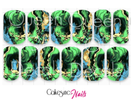 Queen of Decals - Aqua Marine Marble 'NEW RELEASE'