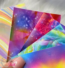 Glitter.Cakey - Ombré Mixed Flames Sticker Sheet '6 PIECES SET'