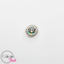 Glitter.Cakey - Silver Clear Rotation Round Charm
