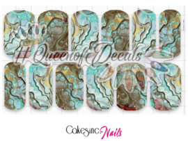 Queen of Decals - Mint & Gold Marble 'NEW RELEASE'
