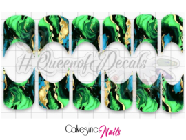 Queen of Decals - Emerald Marble French 'NEW RELEASE'