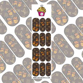 CakesInc.Nails - Brown V L & Butterflies 'NAIL DECALS'