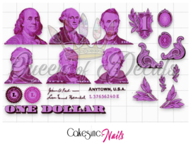 Queen of Decals - Pink US Dollar Bill Elements 'NEW RELEASE'