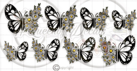 Queen of Decals - Negative Space Butterfly Wings & Daisies 'NEW RELEASE'