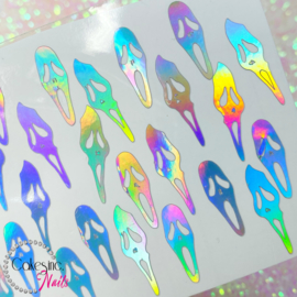Queen of Decals - Silver Holographic Scream Mask 'Stickers'