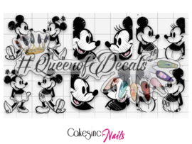 Queen of Decals - Mickey, Minnie Sketches 'NEW RELEASE'