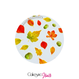 Glitter.Cakey - Engraved Autumn Leaves '5D Sticker Sheet'