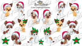 Queen of Decals -  Cute Christmas Puppies