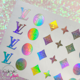 Queen of Decals - Holographic Silver 'V L & SHAPES' Sticker Sheet