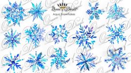 Queen of Decals - Aqua Snowflakes